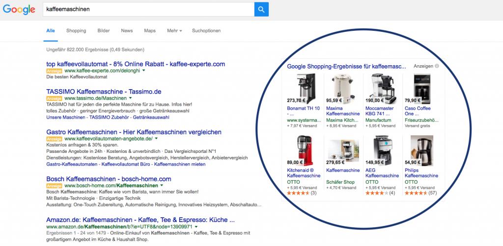 PLA auf Google Shopping