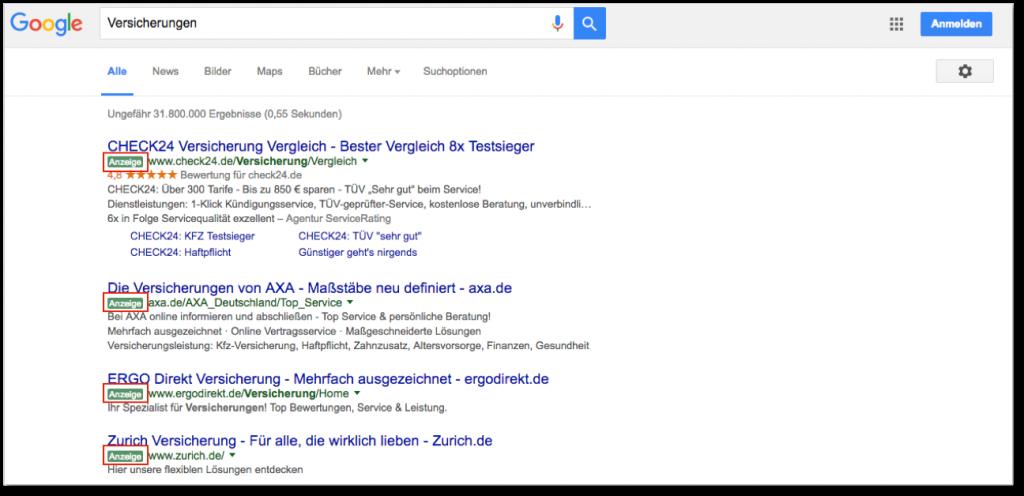Anzeigen über den Suchergebnissen