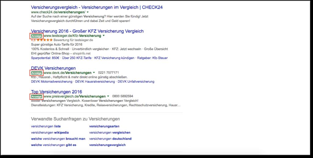 Anzeigen unter den Suchergebnissen