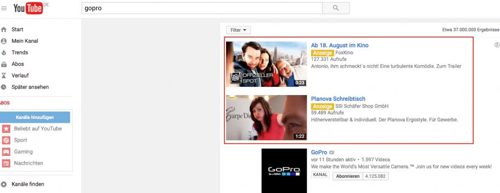 Video Discovery-Anzeige in den Suchergebnissen