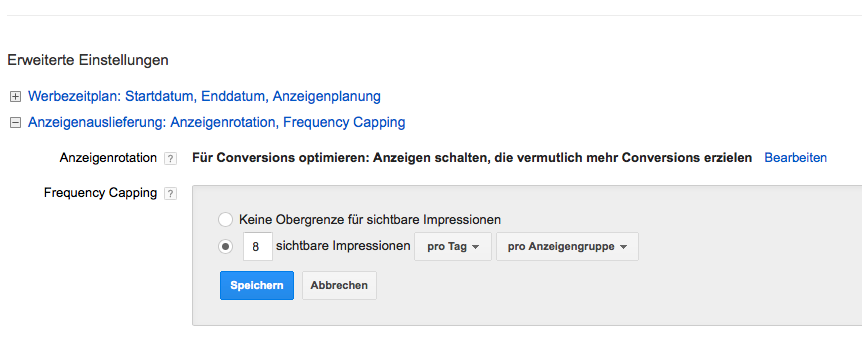 Einstellung Frequency Capping im Adwords Konto