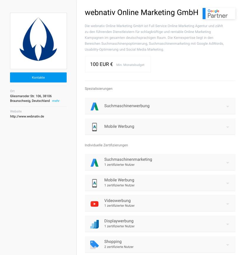 Google Partners Profil webnativ