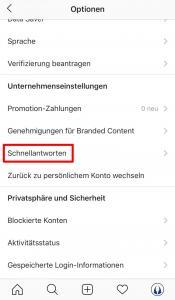 Instagram Schnellantworten in den Kontoeinstellungen verwalten