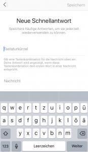 Instagram - neue Schnellantwort und Tastaturkürzel hinzufügen