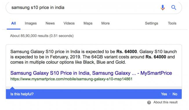 Neue Feedback-Leiste für Google Featured Snippets - hilfreiche Information